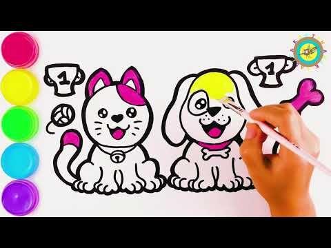 Cara Menggambar Dan Mewarnai Kucing Dan Anjing Belajar