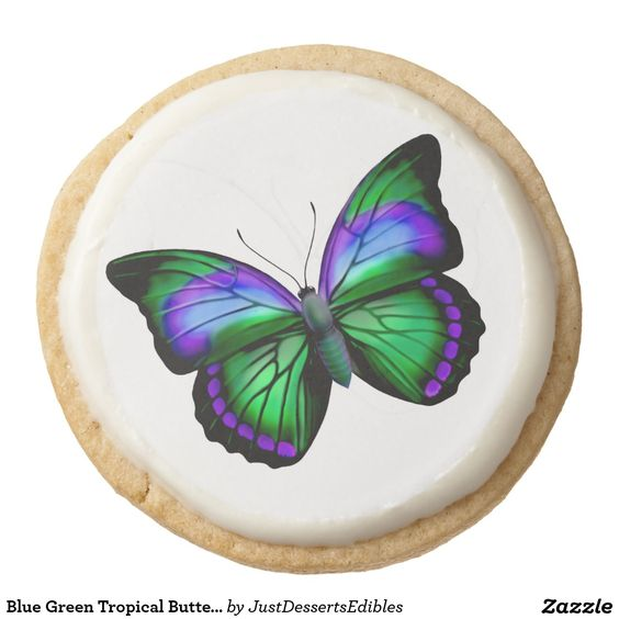 Blue Green Tropical Butterfly Gourmet Cookies Round Premium Shortbread Cookie. #cookies #party #partyplanning #reception