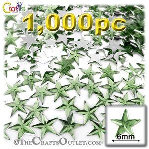 1000-pc Acrylic foil Flatback Star shape Rhinestones 6mm Light Green