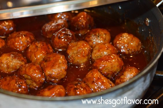 She's Got Flavor » QUICK AND EASY CHICKEN MEATBALLS WITH HOMEMADE MUMBO SAUCE