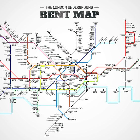 The London Underground Rent Map: Where You Can't Afford to Live, by Stop. Jason Allen for Thrillist replaced station names on the London Tube map with median rent prices for a one-bedroom apartment in the area.