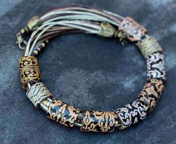 necklace made of polymer clay Mokume gane vintage by TanyaMAYOROVAart on Etsy