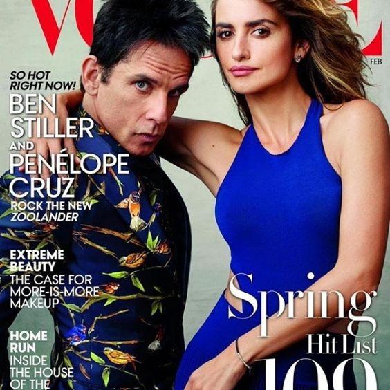 Bleu acier ressemble: #PenelopeCruz dans Ralph Lauren Collection avec # Zoolander2 co-star Ben Stiller sur la couverture devoguemagazine Février