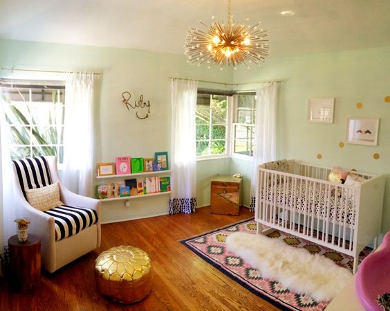 The layered rugs in this whimsical nursery are amazing! @Lulu & Georgia #nursery #rug