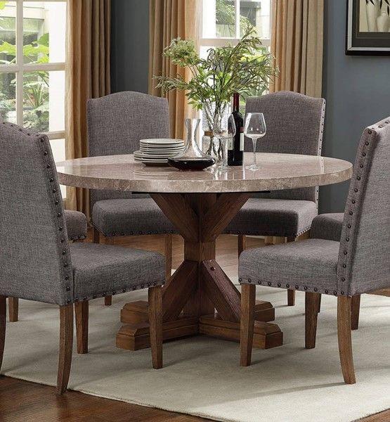 Crown Mark Vesper Brushed Dust Paint Round Table Marble Top Dining Table Dining Table Marble Round Marble Dining Table