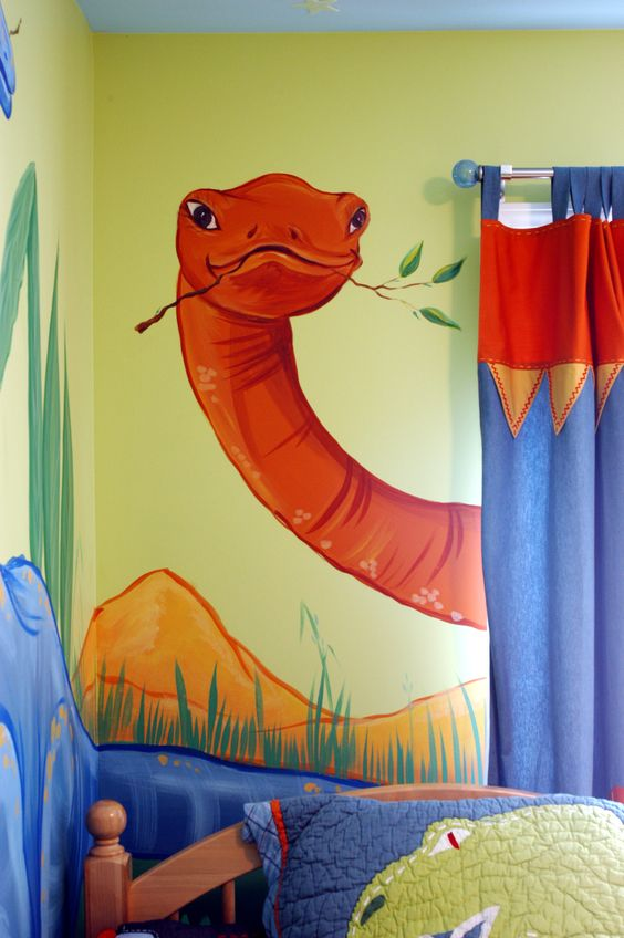 Cloud ceiling dinosaurs and murals on pinterest for Dinosaur mural ideas