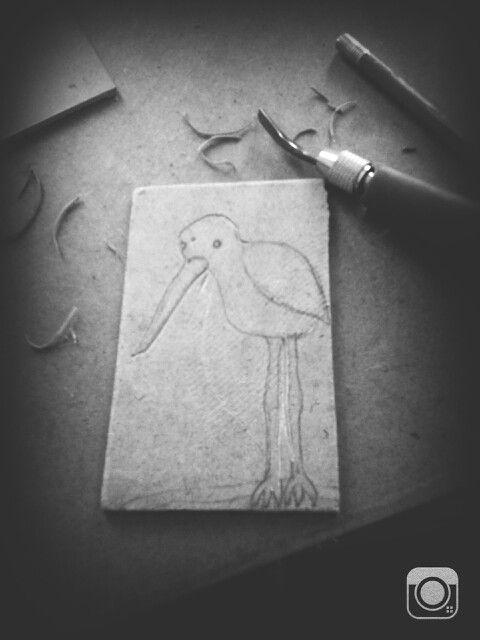 Xilografia. ave. grabado.