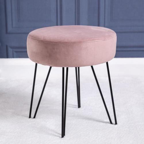 Velvet Round Footstool Ottoman Dressing Table Stool LivingRoom Bedroom Furniture