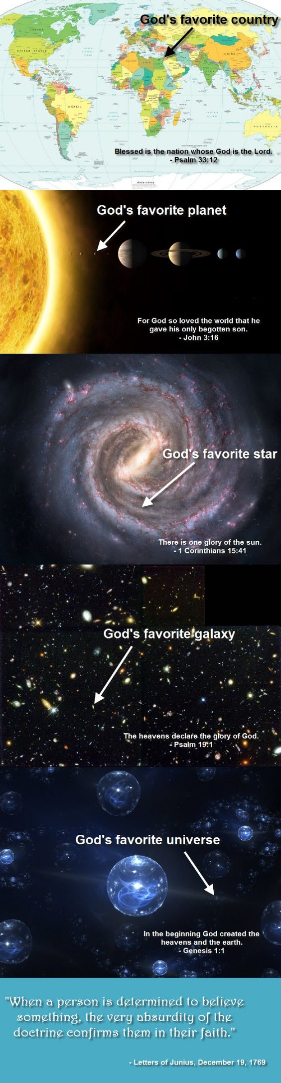 God's favorite. ~ Yes, this puts it all in perspective and illustrates so clearly how ridiculous a belief in a god really is.: