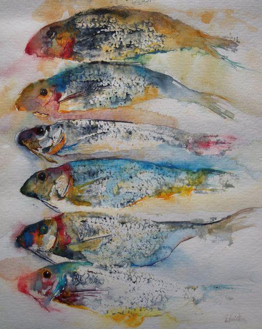 ATELIER DE LA PETITE MER - Les aquarelles d'Olivia QUINTIN en Bretagne : poissons
