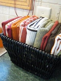 Dishcloths in a basket beside the sink...or under the sink. Great idea! or a good idea for the bathroom!