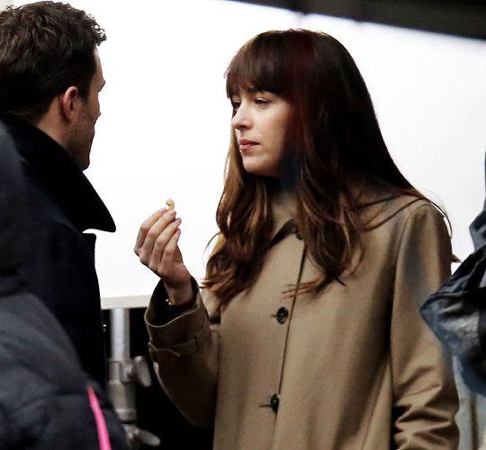 Dakota and Jamie Filming Fifty Shades Darker On March, 04