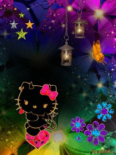 Circles fantasia and hello kitty on pinterest Fondos animados celular