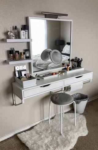 MakeupAddiction  Makeup  Vanity  IKEA   Makeup   Pinterest   Makeup  vanities  Vanities and Makeup. My battle station    MakeupAddiction  Makeup  Vanity  IKEA