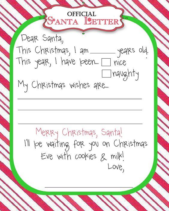 Printable letters Christmas and Letter to santa – Printable Santa Wish List