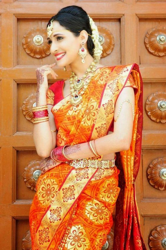 Red saree, Golden borders, Red bangles, Bridal Saree, Pragya Jaiswal