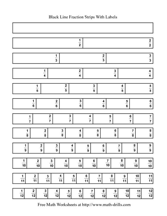 Blackline Fraction Strips -- Labeled | Math | Pinterest ...