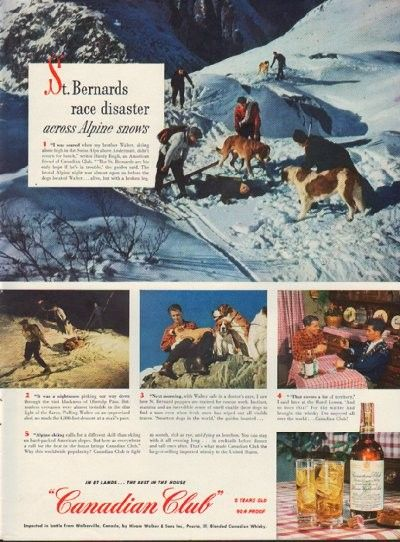 "Description: 1950 CANADIAN CLUB vintage print advertisement ""St. Bernards race disaster across Alpine snows""""It was a nightmare picking our way down through the vast blackness of Oberalp Pass. ""'That covers a lot of territory,' I said later at the Hotel Lowen. Blended Canadian Whisky."" Size: The dimensions of the full-page advertisement are approximately 11 inches x 14 inches (28cm x 36cm). Condition: This original vintage advertisement is in Very Good Condition unless otherwise noted ()."