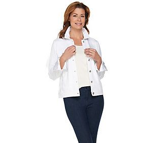 Kelly by Clinton Kelly Ponte Knit Jacket with Gingham Accents