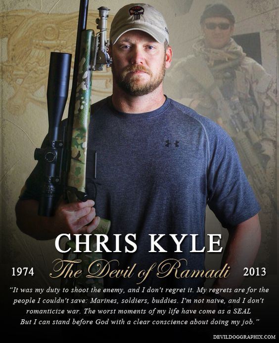 "devildoggraphix: ""Two years ago today, America lost a great warrior and hero. RIP Chris Kyle. You will never be forgotten! ""It was my duty to shoot the enemy, and I don't regret it. My regrets are for..."