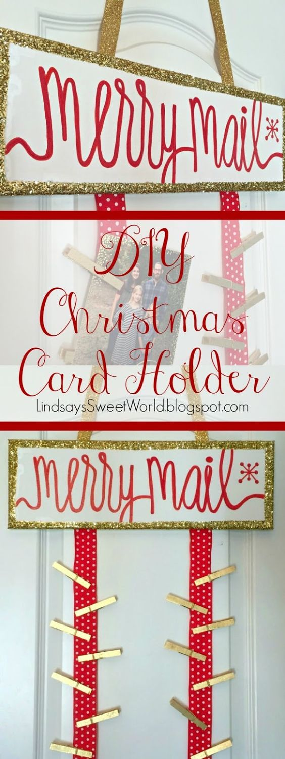 DIY Christmas Card Holder - a place to hang all of your merry mail!: