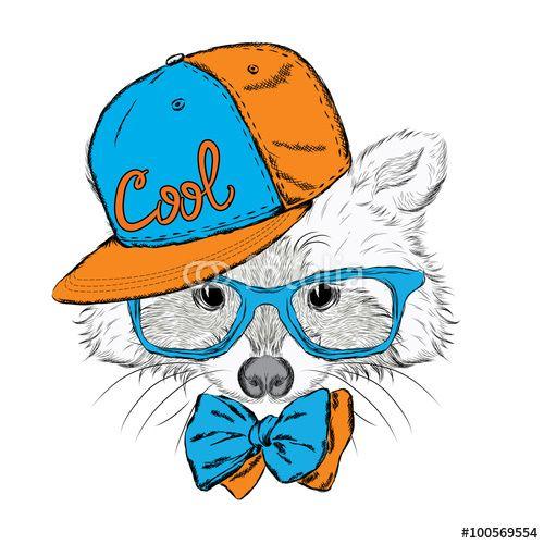 Vektor: Raccoon vector. Raccoon in a cap and a tie. Raccoon clothing. Honey Raccoon . Hipster. Card with animals.
