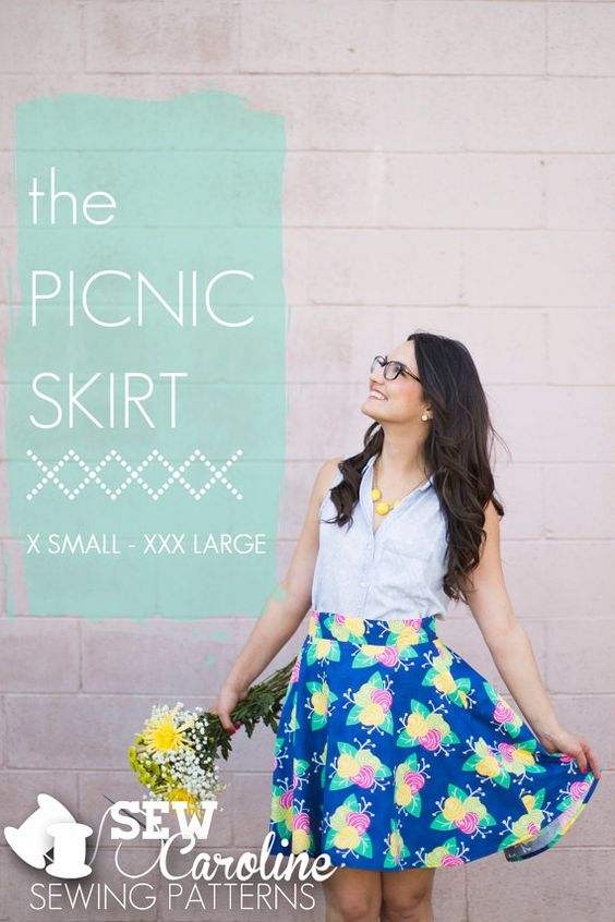 The+Picnic+Skirt+PDF+Sewing+Pattern+Sizes+by+SewCarolinePatterns,+$15.00