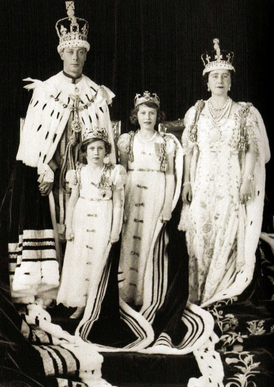 George VI with his wife, Elizabeth Bowes-Lyon and his two daughters, the future Elizabeth II (second from the right) and Princess Margaret.
