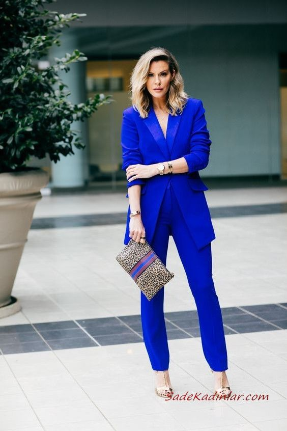 2019 Bayan Takim Elbise Kombinleri Saks Mavi Pantolon Uzun Ceket Gold Stiletto Ayakkabi Leopar Desenli El Cantasi Mavi Pantolon Takim Elbise Moda Kadin