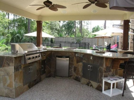 Exterior : Stylish Outdoor Kitchen Designs And Decor Ideas With Gorgeous Twin Ceiling Fans With Brown Stoned Outdoor Kitchen Design Plus White Ceramic Countertop Idea Stylish Outdoor Kitchen Designs and Decor Ideas Outdoor Kitchen Designs Metal Studs. Outdoor Kitchen Designs Gulf Shores Alabama. Outdoor Kitchen Design Knoxville.