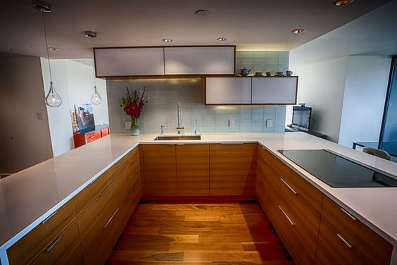 Rift teak semihandmade doors on an ikea kitchen in seattle for Kitchen cabinets seattle