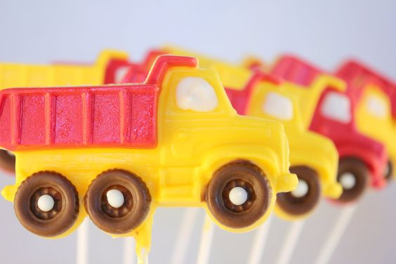 Fantastic Dump Truck Lollies~  12 Dump Truck White Chocolate Lollipops. $18.95, via Etsy.