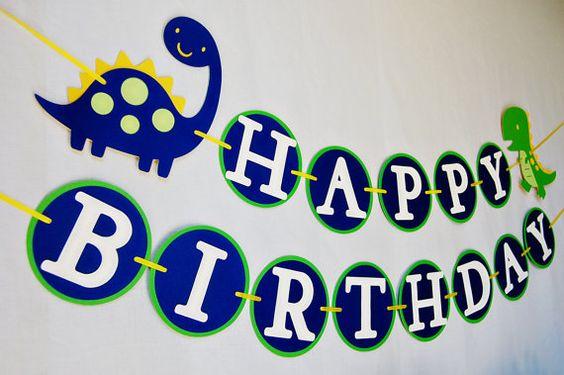 DinoROAR  birthday party package by Pinwheel Lane on etsy - Dinosaur Happy Birthday banner