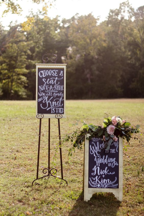 Glam Black, White, Gold Chalkboard Signs