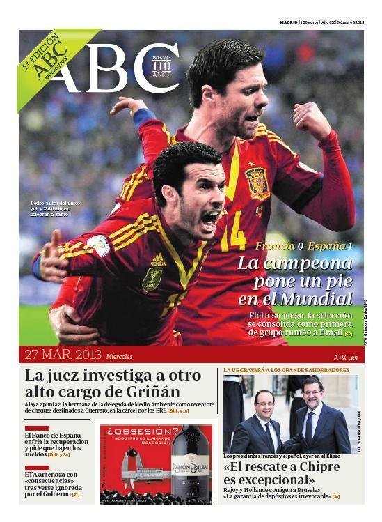 La portada de ABC del 27 de marzo
