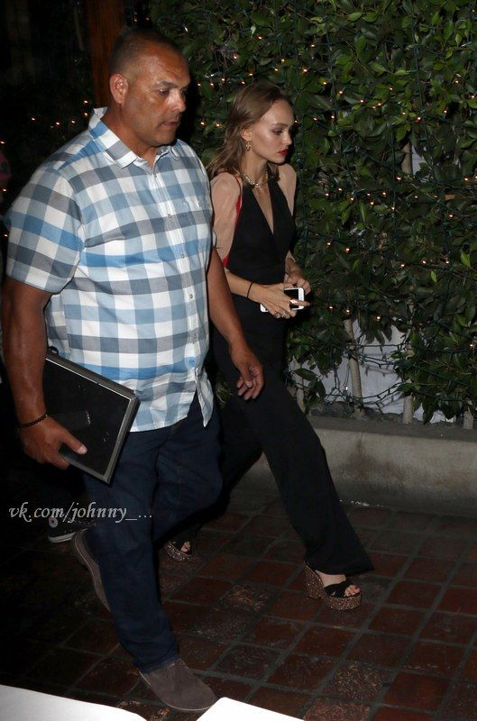 """Johnny Depp steps out for a family dinner at Ago Restaurant with his daughter Lily-Rose Depp and his son John """"Jack"""" Depp III. more pics"""