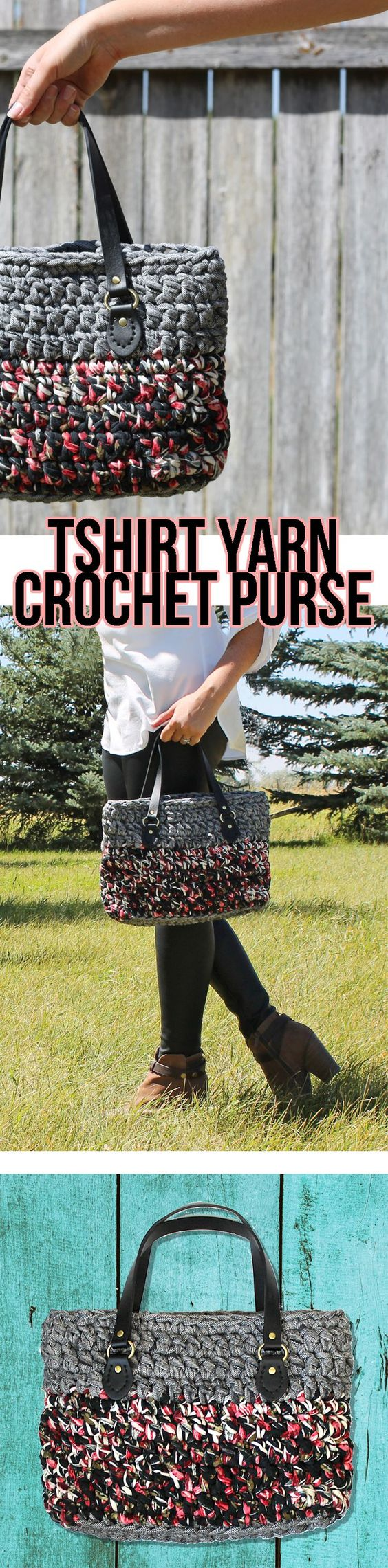 This cute handmade bag is crocheted from t-shirt yarn. The free crochet pattern with pictures makes it easy to learn.: