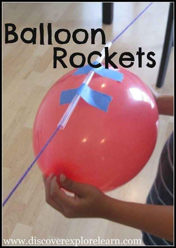 Ballonrakete basteln.