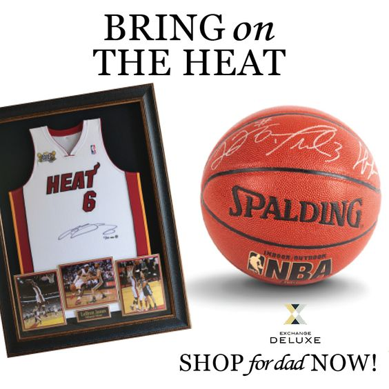 For the passionate basketball fan, it doesn't get hotter than a LeBron James jersey and basketball signed by The Three Kings!  Shop for Dad! #FathersDay #MiamiHeat