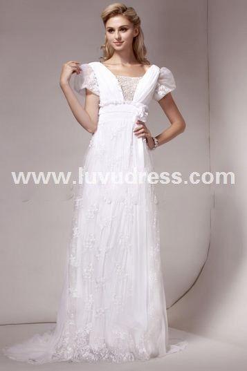 Fancy Sheath/Column V-neck Short-Sleeve Court Lace Dasha's A-Line Wedding Dress