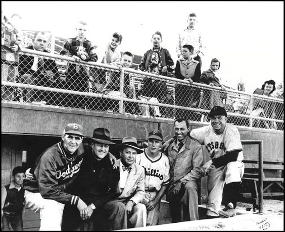 When Rosenblatt was Municipal Stadium. At the first game, from left: Steve Rosenblatt; Rex Barney; Bob Hall, owner of the Omaha Cardinals; Duce Belford, Brooklyn Dodgers scout and Creighton athletic director; Richie Ashburn, a native of Tilden, Neb.; Johnny Rosenblatt; and Johnny Hopp of Hastings, Neb.: