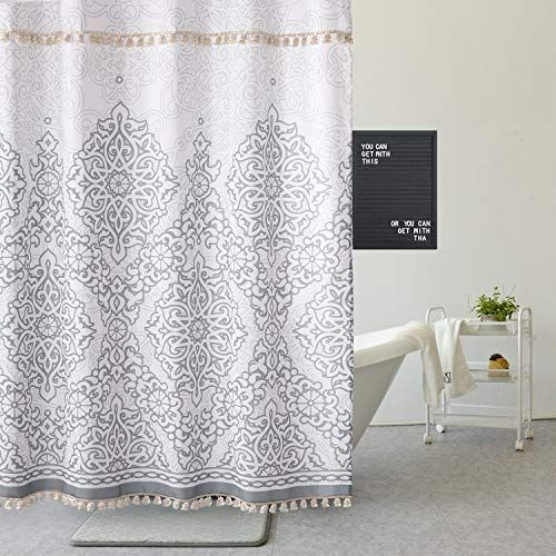 Uphome Tassel Shower Curtain Gray Damask Print Floral Fabric
