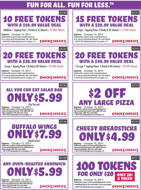 Chuck E Cheese Coupon 8 Printable Coupons Through March 2016