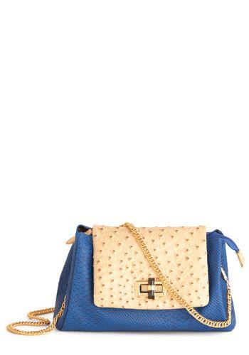 blue faux snakeskin bag