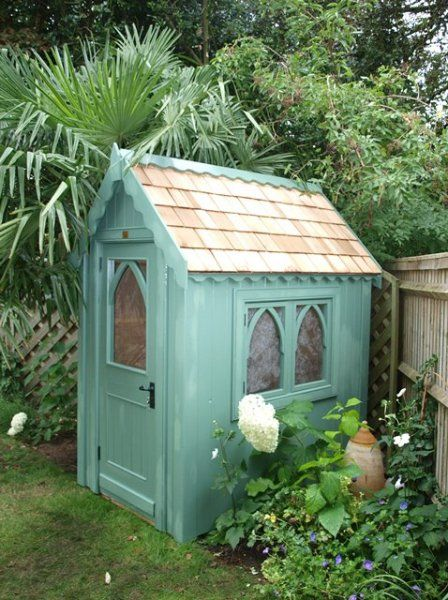 6ft x 4ft Gothic shed finished with sadolin superdec in pea green (Gothic-84)