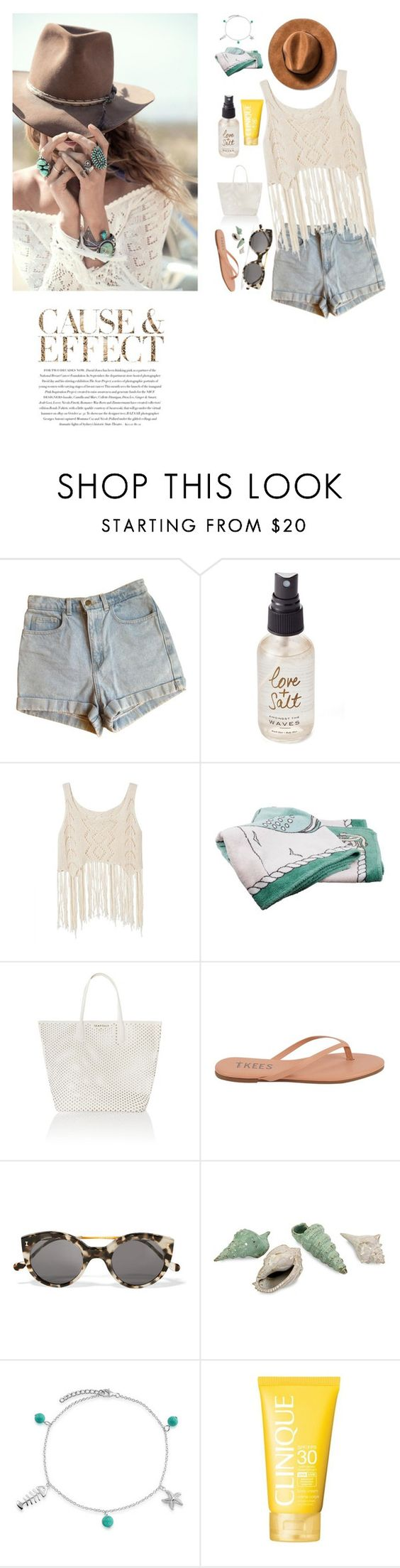 """Untitled #525"" by fashionista9000 ❤ liked on Polyvore featuring Spell & the Gypsy Collective, Envi, American Apparel, Olivine, Hermès, Seafolly, Tkees, Illesteva, Bling Jewelry and Clinique"