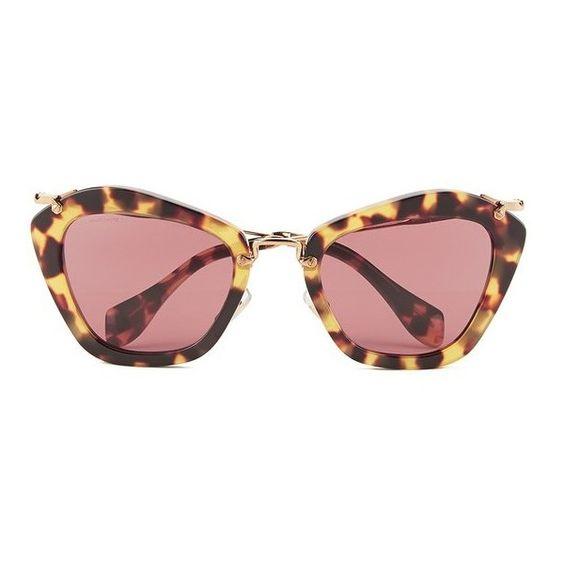 Miu Miu Noir Women's Sunglasses - Yellow Havana (€305) ❤ liked on Polyvore featuring accessories, eyewear, sunglasses, miu miu eyewear, yellow glasses, tortoise cat eye sunglasses, plastic glasses and tortoiseshell sunglasses