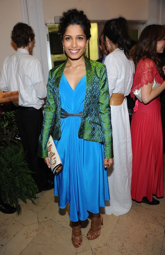 Get the Look: Freida Pinto's Barney's Private Dinner Maiyet Brocade Tux Jacket, Belted Silk Midi Dress, and Cutout Detailed Ayla Clutch