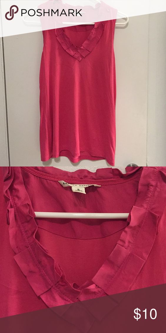 Pink silk and cotton tank top Gently worn tank. Great for work. Banana Republic Tops Tank Tops