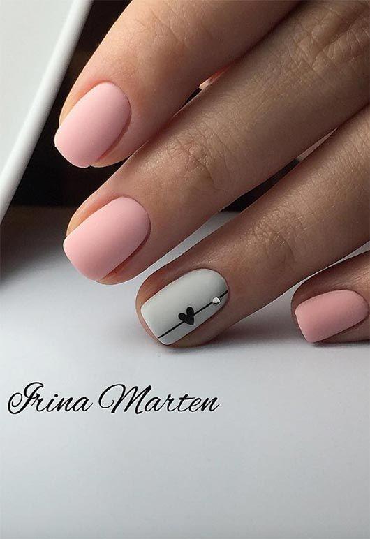 65 Awe Inspiring Nail Art Designs For Short Nails Cute Acrylic Nails Heart Nails Rhinestone Nails
